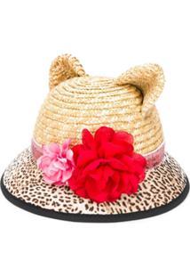 Monnalisa Flower Embellished Sun Hat - Neutro
