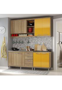 Cozinha Completa Com Balcão Sem Tampo 4 Peças 8 Portas Sicília Multimóveis Argila/Amarelo