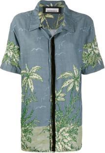 Night Market Camisa Hawaii Mangas Curtas - Azul