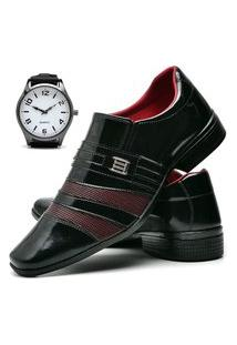 Sapato Social Masculino Asgard Com Relógio New Db 813Lbm Vinho