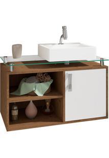 Gabinete De Banheiro Braga 1 Pt Amêndoa E Branco