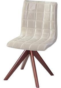Cadeira Madeira Grã¡Pia Revestimento Veludo Lilies Mã³Veis - Marrom/ - Dafiti