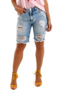 Bermuda Jeans Equivoco Bronx Feminina - Feminino-Azul