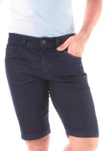 Bermuda Jeans Traymon Slim 5 Bolsos Amaciada Masculina - Masculino-Azul Escuro