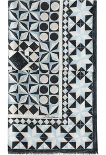 Dolce & Gabbana Echarpe Com Estampa Geométrica E Acabamento Desfiado - Azul