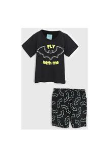 Pijama Kyly Curto Infantil Morcego Preto