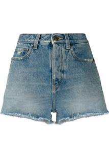 Saint Laurent Fringed Hem Denim Shorts - Azul