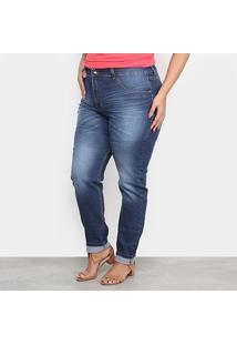 Calça Jeans Xtra Charm Plus Size Skinny + Cinta Modeladora Feminina - Feminino-Azul