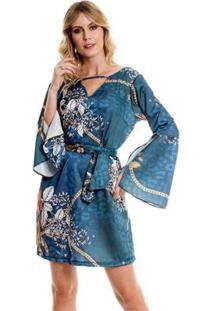 Vestido Bisô Amarração Flare Feminino - Feminino-Azul