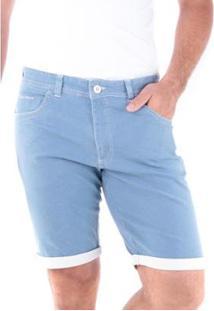Bermuda Sarja Slim Amaciada 5 Bolsos Traymon Masculina - Masculino-Azul Claro