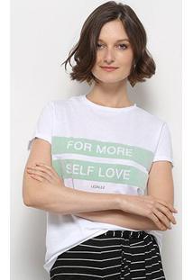 Camiseta T-Shirt Lez Lez Estampada Feminino - Feminino-Branco+Verde