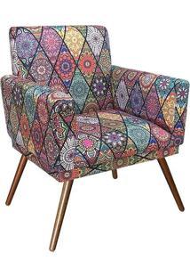Poltrona Decorativa Nina Rodapé Suede Mosaico Preto - Ds Móveis