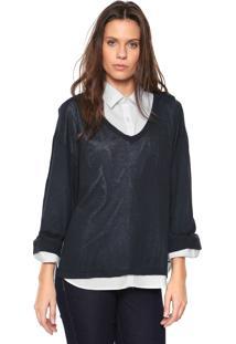 119fd00938 Blusa Calvin Klein Jeans Tricot Gola V Azul-Marinho