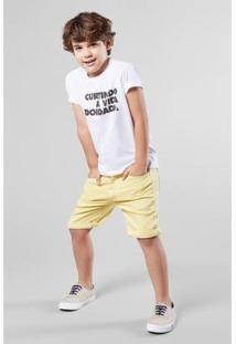Camiseta Infantil Reserva Mini Curtindo A Vida Masculina - Masculino-Branco