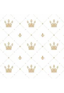 Papel De Parede De Coroas- Dourado & Branco- 300X0,5Jmi Decor
