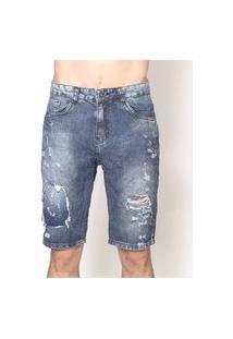Bermuda Masculina Jeans Paint Blue