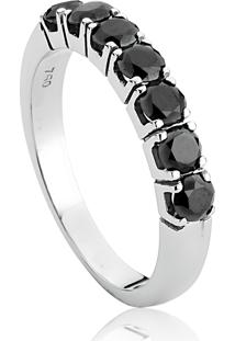 Meia Aliança De Ouro Branco Com Diamantes Negros-Coleção Rainbow Rings