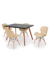 Conjunto Mesa De Jantar Gih 120X80Cm Preta Com 4 Cadeiras Slim - Nude