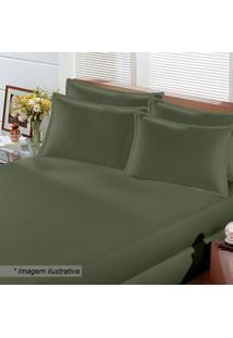 Lençol Image Rolinho Queen Size Em Malha- Verde Militar