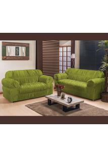 Capa De Sofá América 2 E 3 Lugares Elasticada Tecido Malha Gel Verde Borda Bordados Enxovais