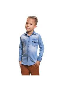 Camisa Infantil Zaiko Jeans Manga Longa 2045 Azul