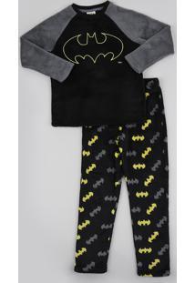 Pijama De Fleece Infantil Batman Manga Longa Preto