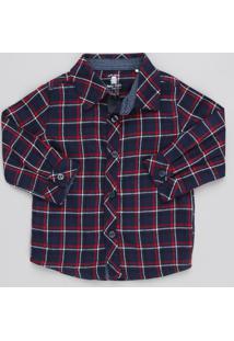 Camisa Infantil Xadrez Manga Longa Azul Marinho