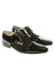 Sapato Masculino Bico Fino Em Verniz E Camurça Preto - Mr.R-1772-Verniz-Camurça-Preto