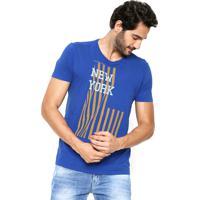695ba5f26b27a Camiseta Calvin Klein Jeans Ckj New York Azul