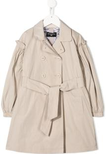 Monnalisa Belted Trench Coat - Neutro
