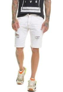 Bermuda Jeans Premium Destroyed Masculina - Masculino-Branco