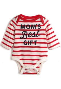 Body Gap Infantil Lettering Vermelho/Off-White