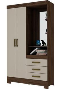 Guarda-Roupa B64 Com Espelho - 2 Portas - Café Com Cristal