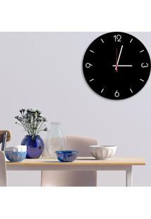 Relógio De Parede Decorativo Premium Preto Ônix Com Números Em Relevo Médio