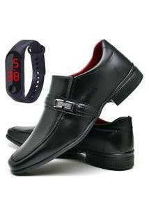 Sapato Social Fashion Com Relógio Led Fine Dubuy 827El Preto