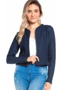 Casaqueto Ralm Tricot Tweed Azul Marinho - Tricae
