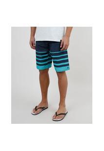 Bermuda Surf Masculina Listrada Com Bolso Azul Marinho