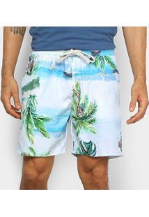 Bermuda Gajang Tropical Masculina - Masculino-Azul