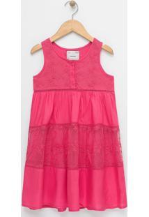 Vestido Infantil Com Renda E Tule - Tam 5 A 14