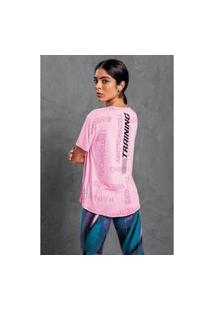 T-Shirt Malwee Manga Curta Em Viscolycra Refletiva Rosa