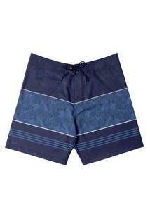 Boardshort Folhagem Listrada Masculino Mash Azul Marinho 40