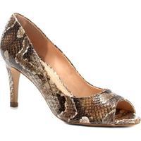 98a9b068e9 Peep Toe Couro Shoestock Salto Fino Cobra - Feminino-Cobra