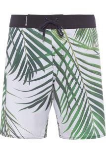Bermuda Masculina Surf Palm Leaf - Off White