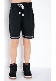 Bermuda Infantil Preta Com Costura Contrastante