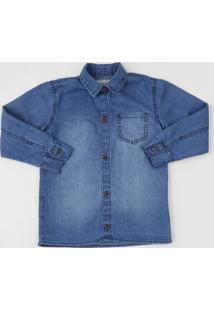 Camisa Jeans Infantil Com Bolso Manga Longa Azul Médio
