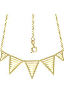 Gargantilha Prata Mil Com 5 Triângulos Vazados Dourado