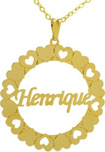 Gargantilha Horus Import Pingente Manuscrito Henrique Banho Ouro Amarelo