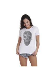 Camiseta Joss Básica Caveira Tribal Branca