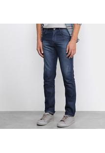 Calça Jeans Slim Preston Estonada Masculina - Masculino-Marinho