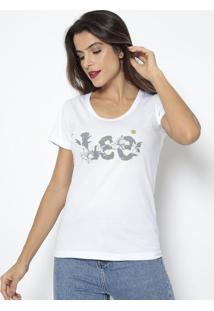 Camiseta Inscrição Com Flores- Branca & Cinza Escurolee